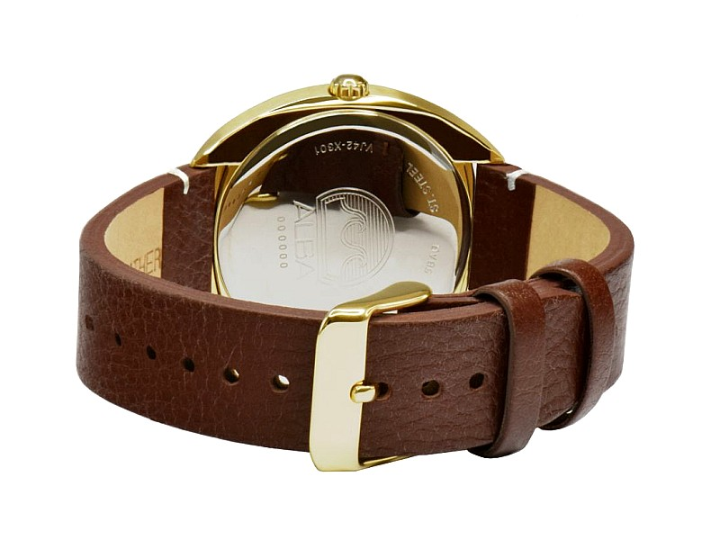 ALBA Men FUSION Date Brown Leather Strap Watch VJ42-X301GRGL