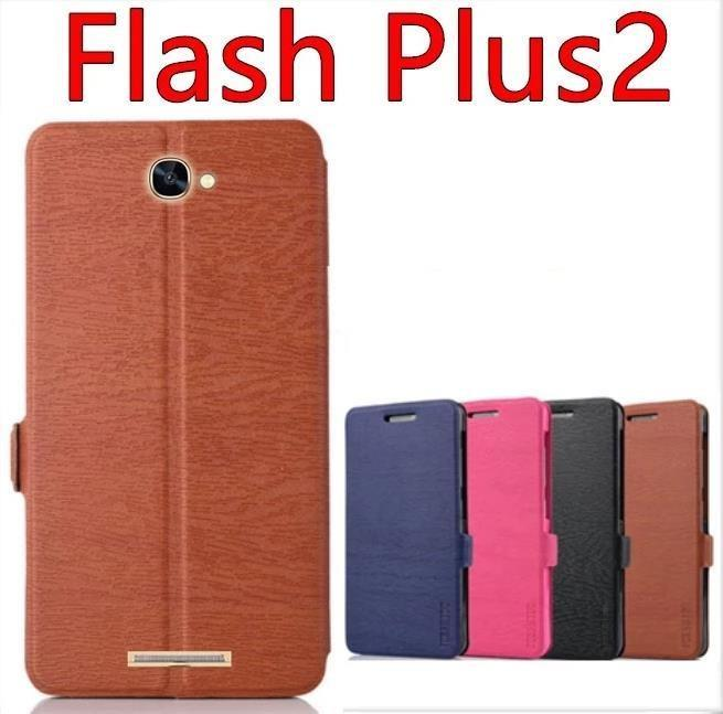 Alcatel One Touch Flash Plus 2 Flip PU Leather Case Cover Casing