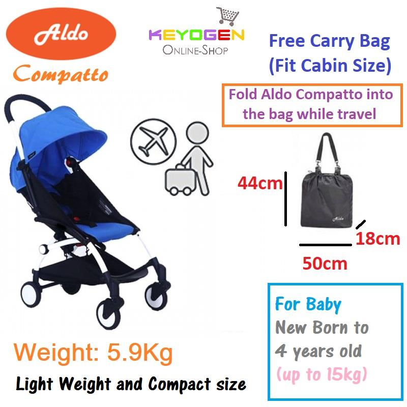 Aldo compatto stroller - light weight cabin size with carry bag blue