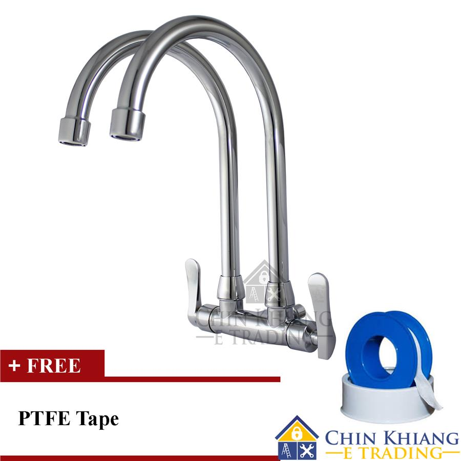 Aleno AK722 Wall Mounted Double Twin Kitchen Sink Water Tap Faucet