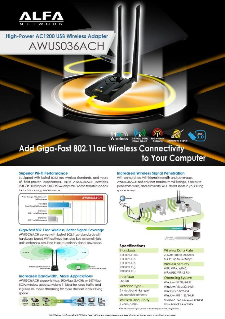 Alfa AWUS036ACH 1200Mbps WiFi USB 3.0 Adapter