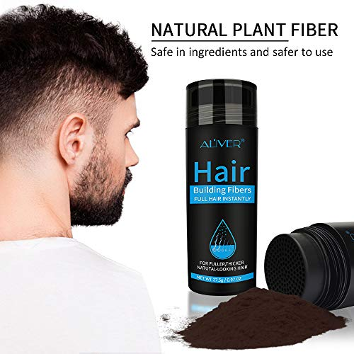 Aliver Hair Fibers for Thinning Hair - Undetectable Natural Formula - Thicker