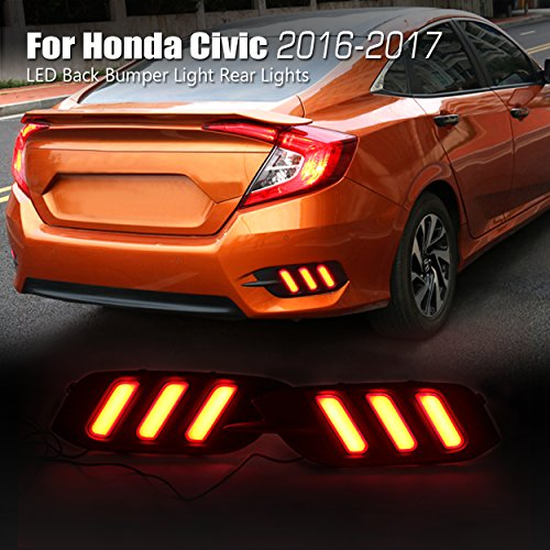 Allinoneparts LED Back Bumper Light Rear Lights Lamp Kit for Honda Civic 10th