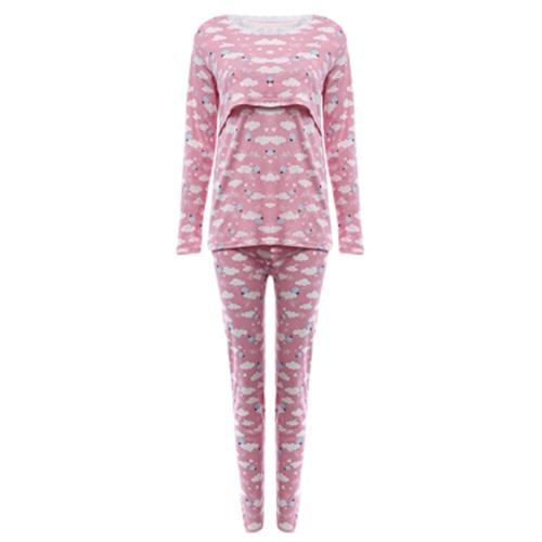 ALLOVER PRINT COTTON BREATHABLE MATERNITY PAJAMAS FOR WOMEN (PINK AND