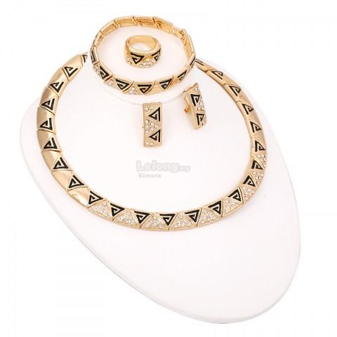 Alloy Fashion Dubai Diamond Triangle Jewelry Set