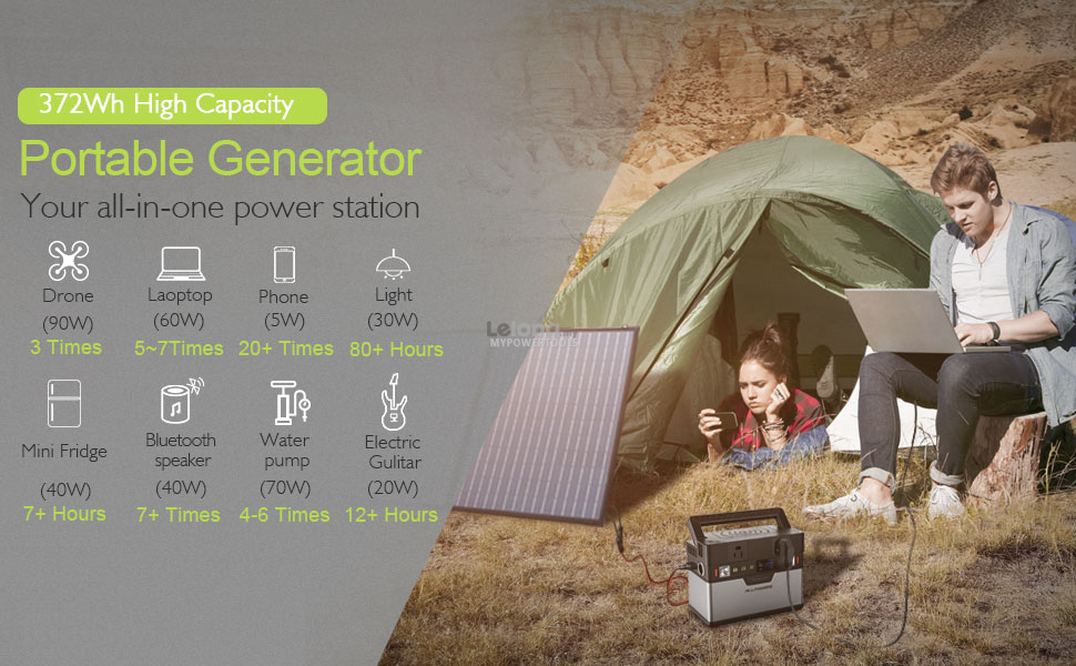 AllPowers 372Wh Lithium ion Portable Solar Generator Power Station