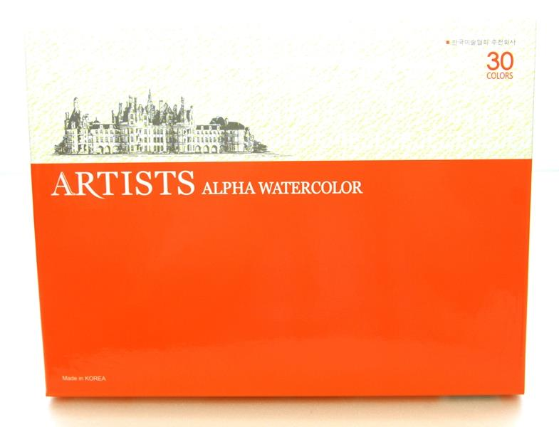 Alpha Artists Watercolor 30 Colors Korea Colour
