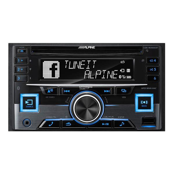 Alpine CDE-W265EBT Double DIN Bluetooth CD USB Aux Car Stereo Receiver