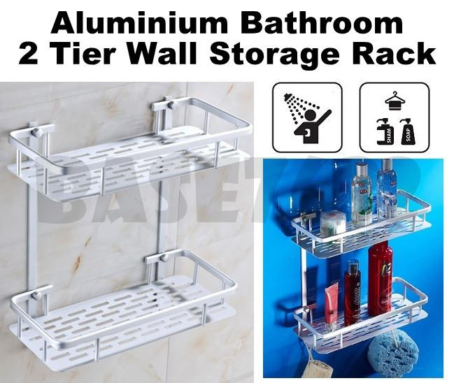 Aluminium Aluminum Toilet 2 Tier Bathroom Wall Shelf Rack 1730.1
