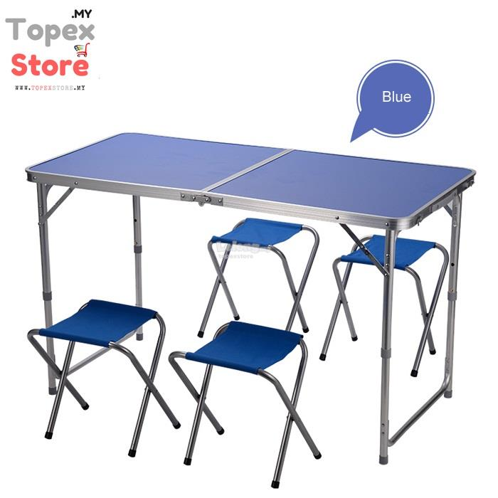 Aluminium Folding Camping Table with 4-Chairs