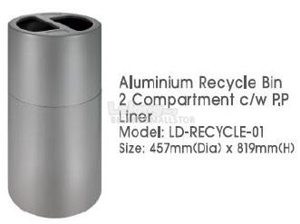 Aluminium Recycle Bin 2Compartment PP Liner LDRECYLE01 457Diax819H QQ