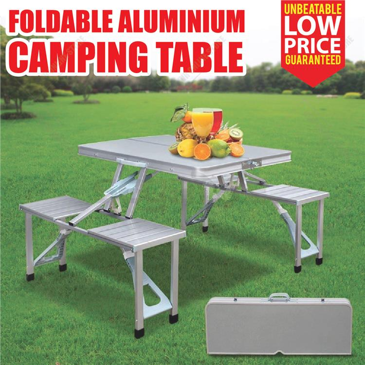 Aluminium Suitcase Camping Picnic Folding Table Chair Outdoor Portable