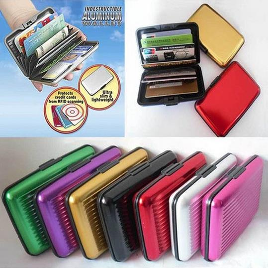 premium selection 9f50e 48abd ALUMINIUM WALLET credit bank card ID holder hard case variety color