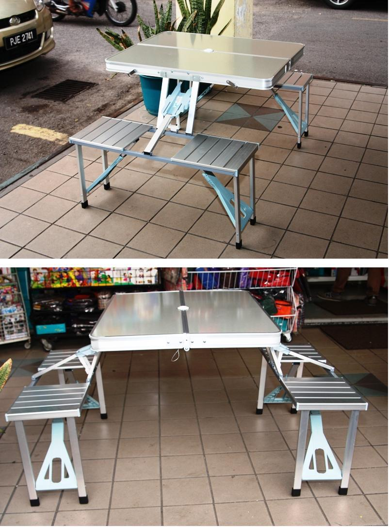 Aluminum Foldable Picnic Table / Road Show Table With Chairs