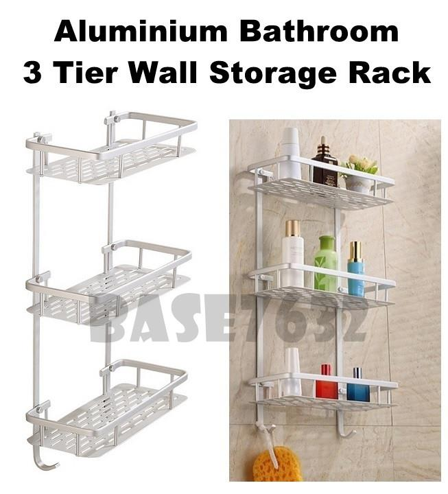 Alumunium Aluminum Toilet 3 Tier Bathroom Wall Shelf Rack 1982.1