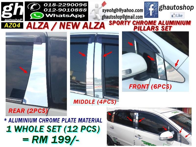 ALZA / NEW ALZA SPORTY CHROME DOOR PILLARS FULL SET (12PCS)