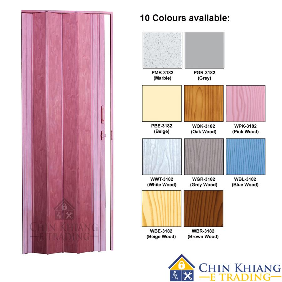 Aman 3182 Deluxe PVC Bathroom Kitchen Folding Door UV Surface 10 Color