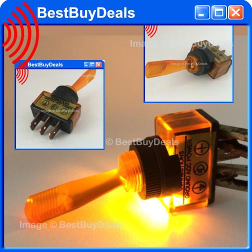 [  AMBER YELLOW Led Car Boat Truck SHAFT Toggle Switch