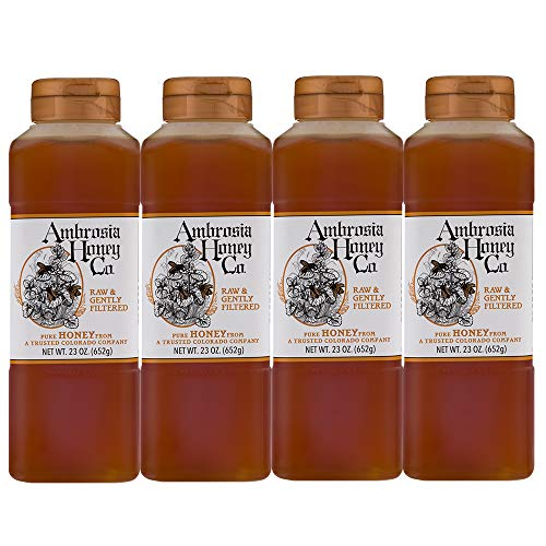 AMBROSIA HONEY CO. Gently Strained Honey, 23 oz. Bottle (Pack of 4) | Natural