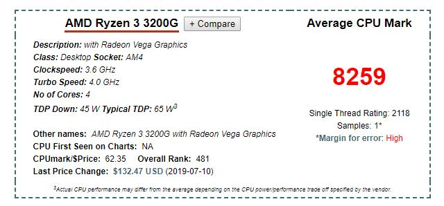 AMD Ryzen 3 3200G with Radeon Vega 8 Graphics Socket AM4 Processor