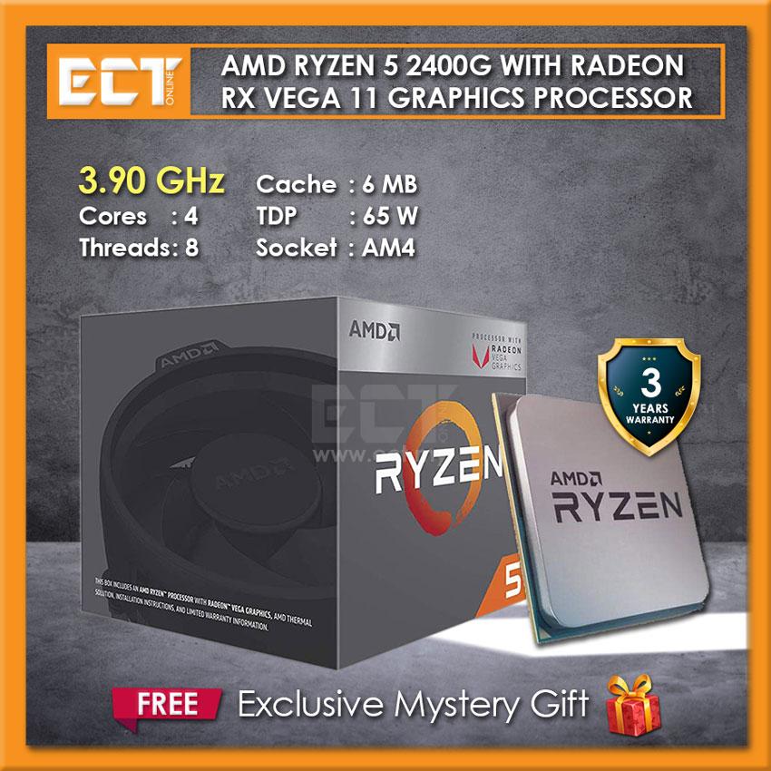 AMD Ryzen 5 2400G Processor with Radeon™ RX Vega 11 Graphics
