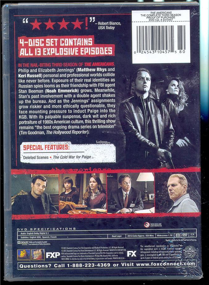 The Americans - The Complete Third Season - New DVD