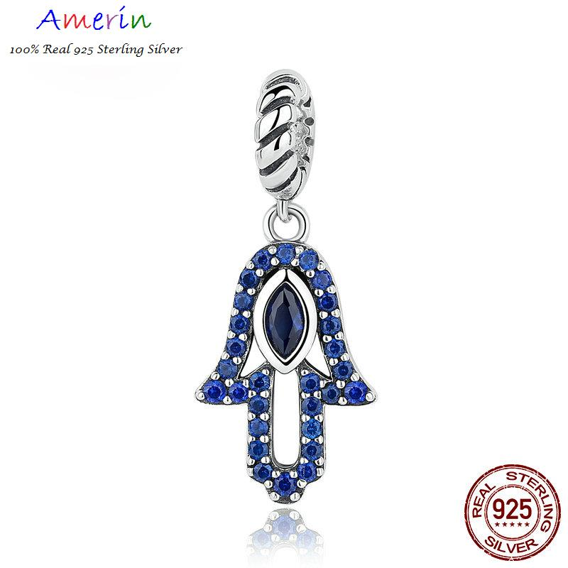 AMERIN 100% Real 925 Sterling Silver Blue Clearly Evil Eye Bracelets