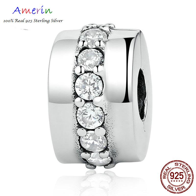 AMERIN 100% Real 925 Sterling Silver Shining Path, Clear CZ Bracelets