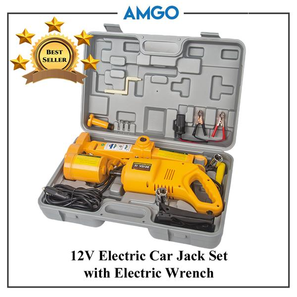 AMGO 12V Electric Car Jack With Electric Wrench 2.0 Ton