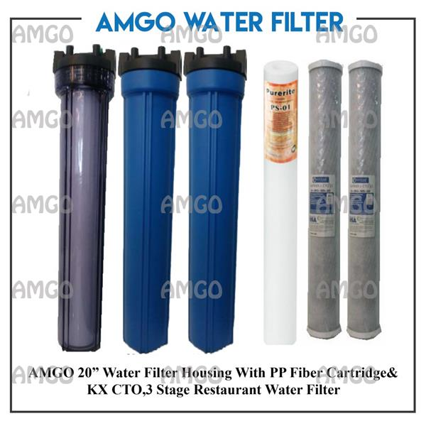 "AMGO 20"" Water Filter Housing With PP Fiber Cartridge&KX CTO, 3 Stage"