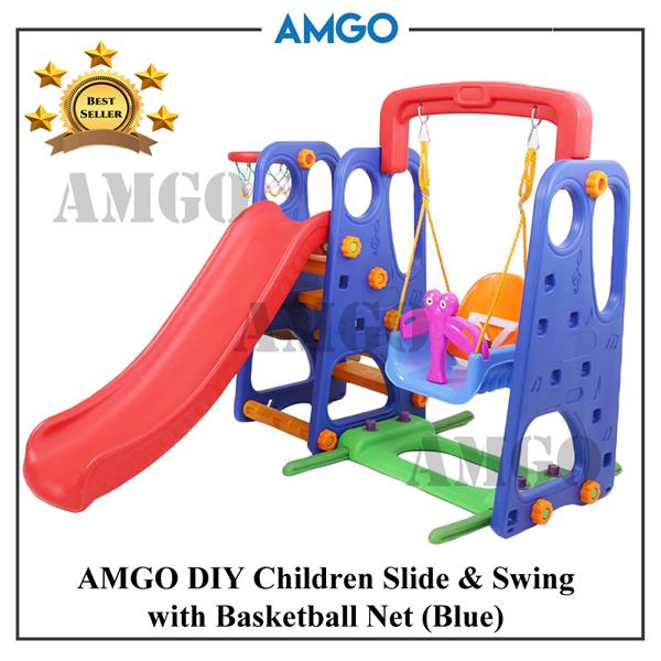 AMGO 3 IN 1 Children Slide & Swing With Basketball Net Kindergarden