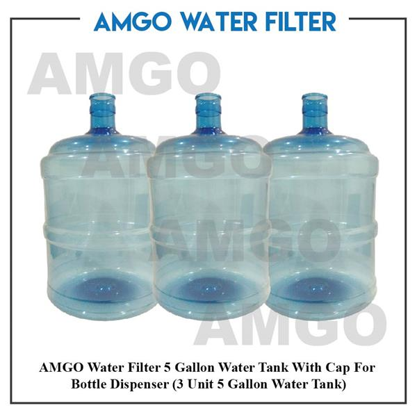 AMGO 5 Gallon Water Tank With Cap For Bottle Water Dispenser (3 unit)