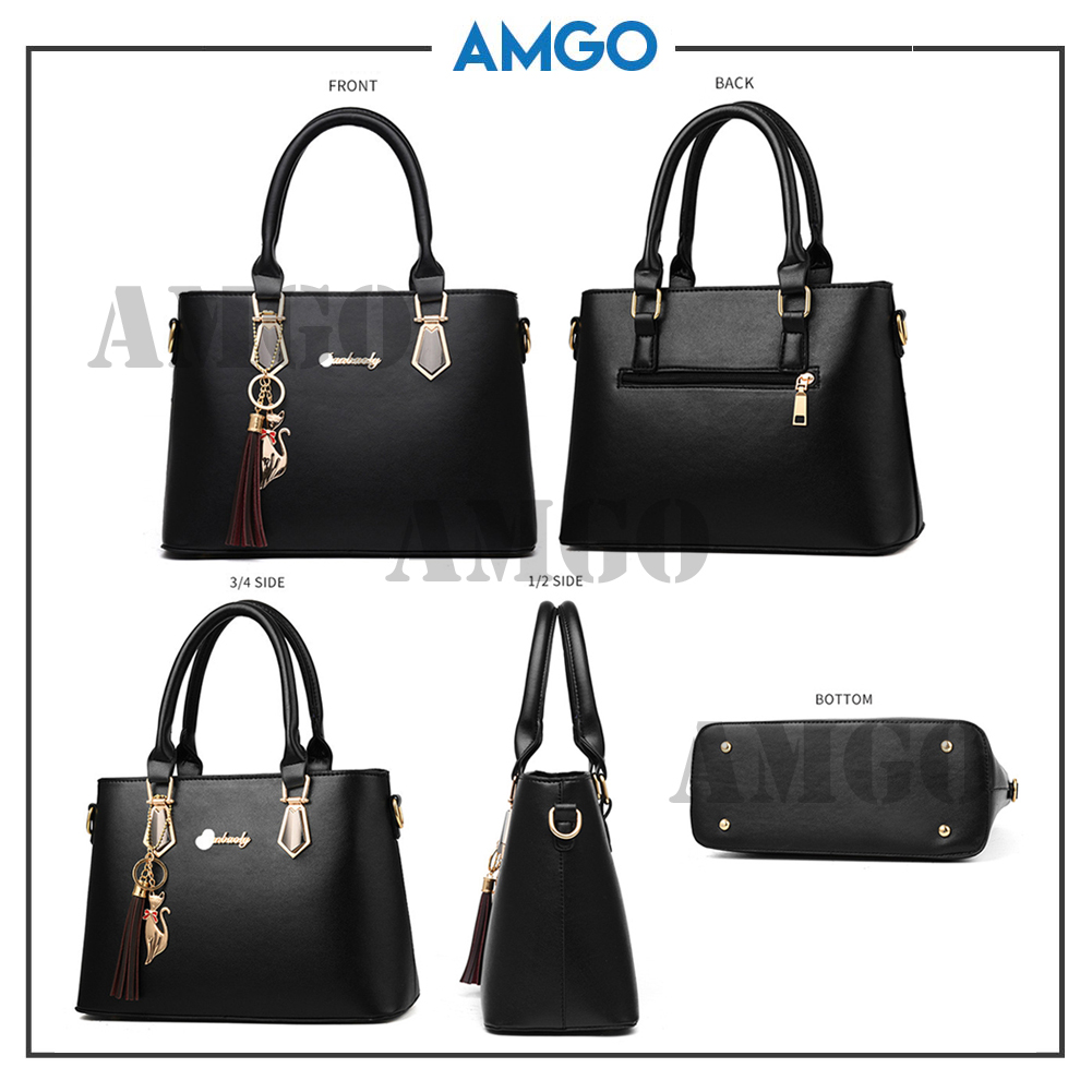 AMGO [Black] Fashion 2 in 1 PU Leather Women Bag FREE CAT KEYCHAIN