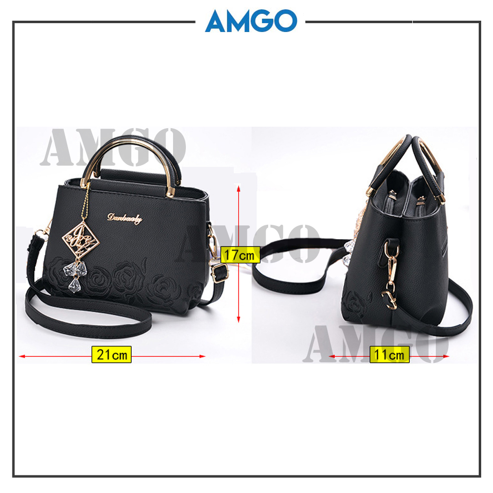 AMGO [Black] Korea Fashion Top Handle Shoulder Lady Handbag