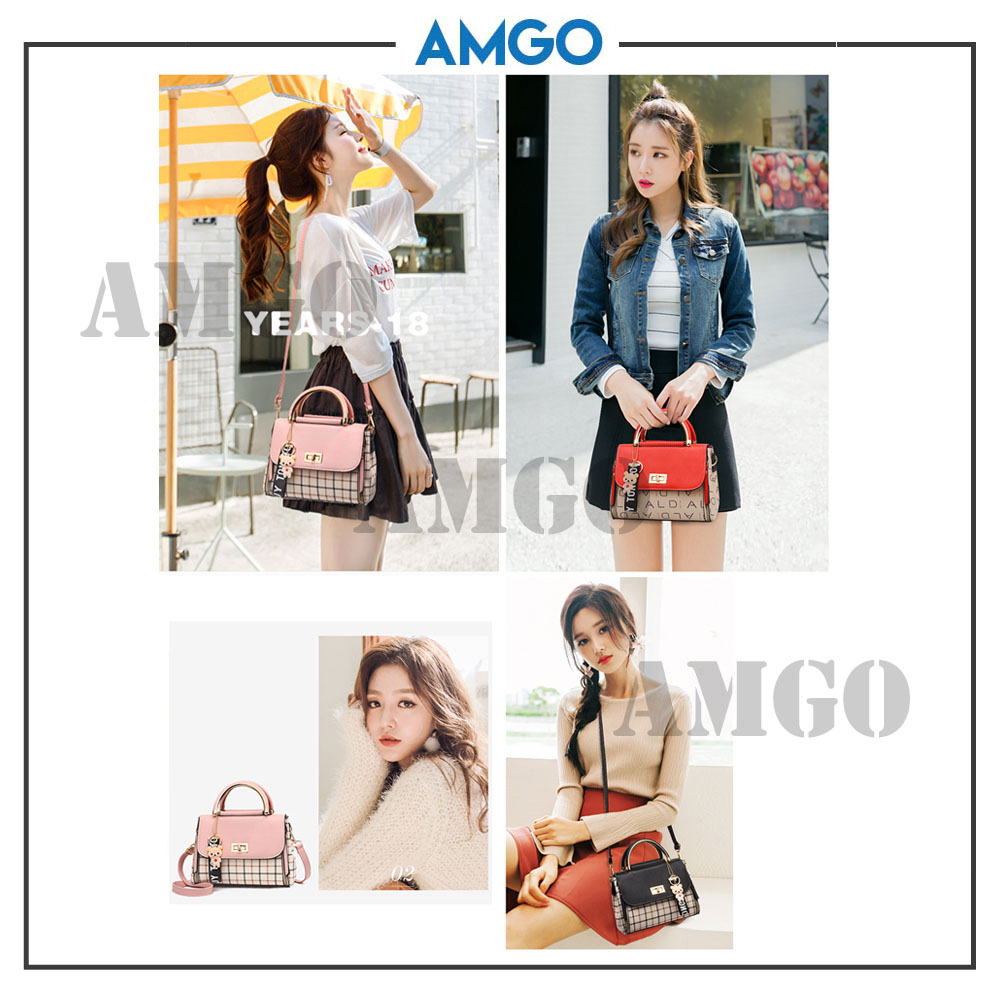 AMGO [Brown] Korean Style PU Leather Women Shoulder Sling Bag