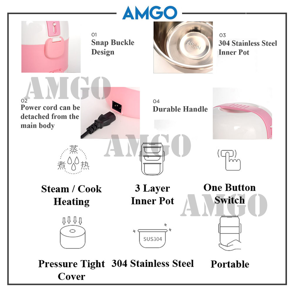 AMGO[Brown]Shile Stainless Steel 2.0L Triple Layers Electric Lunch Box