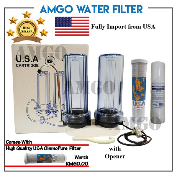 AMGO Double Water Filter Counter Top Double Stage Filtration Set