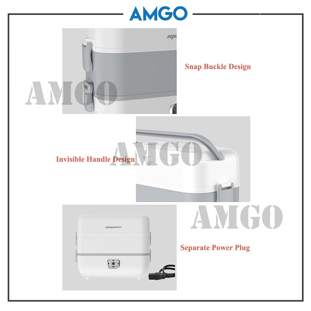 AMGO Electric Heating Lunch Box Portable Food Steamer Cooking Pot