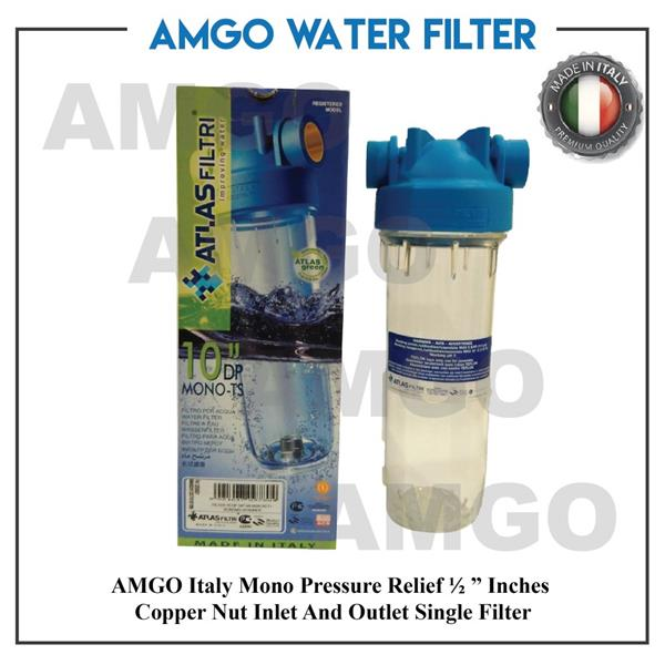 "AMGO Italy Mono Water Filter Housing ½ "" Copper Nut Inlet And Outlet"