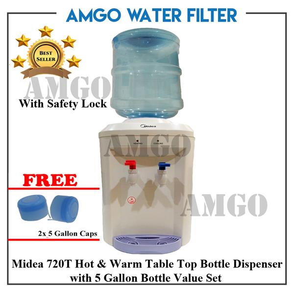 AMGO Midea Hot & Warm Bottle Dispenser 720T With 5 Gallon Water Bottle