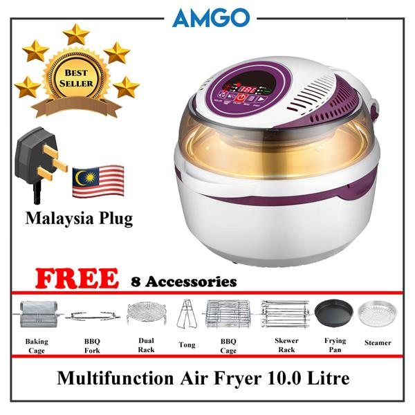 AMGO Multi Functional Air Fryer 10L High Capacity With 8 Accessories