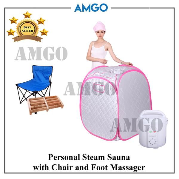 AMGO Portable Steam Sauna 9005 + Chair + Foot Massager