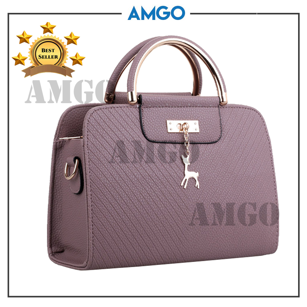 AMGO [Purple Grey] Top Handle Cross Sling Women Bag With Deer Charm