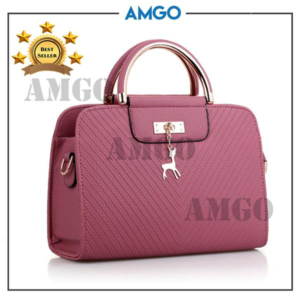 AMGO [Purple Pink] Top Handle Cross Sling Women Bag With Deer Charm