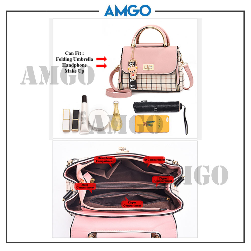 AMGO [Red] Korean Style PU Leather Women Shoulder Sling Bag