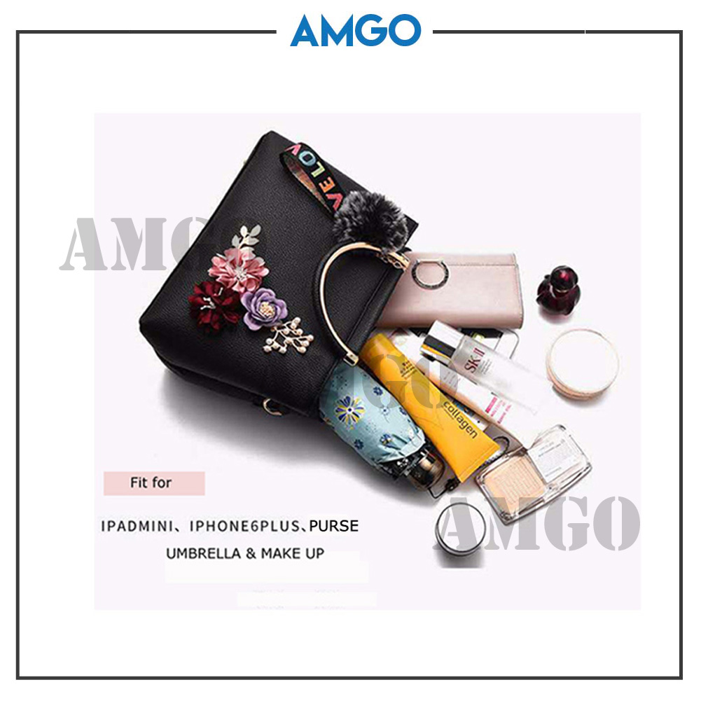 AMGO[Red] Women Handbag Sling Classy 3D Flower FREE Fur Ball Keychain