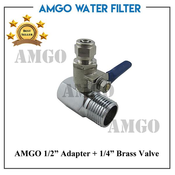 "AMGO RO Feed Water Adapter 1/2"" to 1/4 "" Valve for Water Filter"