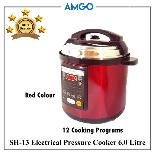 AMGO SH-13 Electric Pressure Cooker 6L [12 Cooking Programs](1000W)