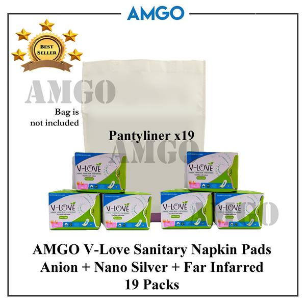 AMGO Stay Healthy Active Oxygen+FIR Sanitary Napkin Pad (19 Pack-Day)