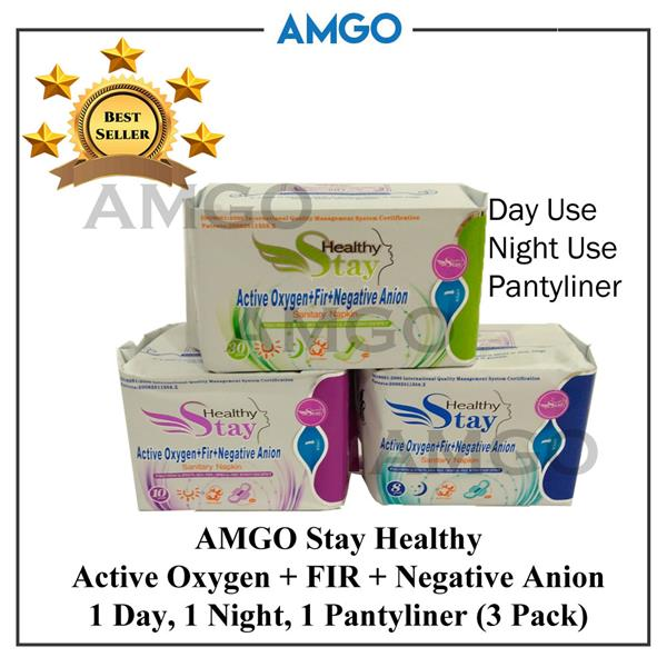 AMGO Stay Healthy FIR+Negative Anion Sanitary Napkin Pad (3 Pack-Day)